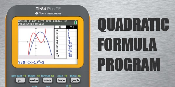 quadratic formula program